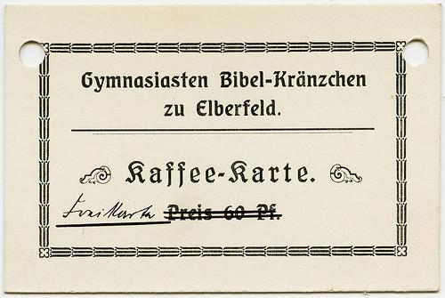 Gymnasiasten Bibel-Kränzchen zu Elberfeld - Kaffee-Karte