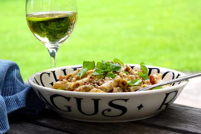 Penne with Walnut & Aubergine Pesto with a glass of White Wine | www.rachelphipps.com @rachelphipps