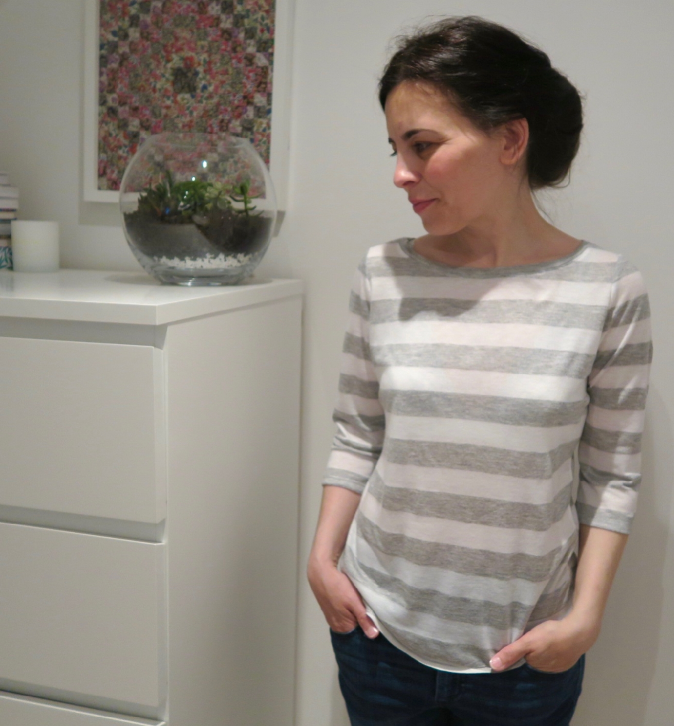 Handmade Grey Stripy Top