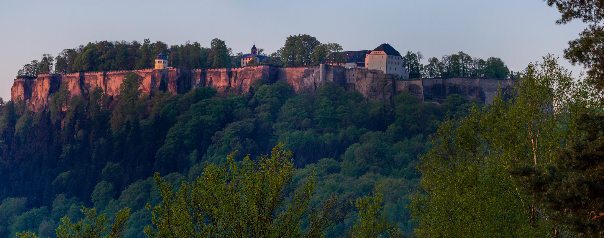 Königstein Fortress recently after sunrise