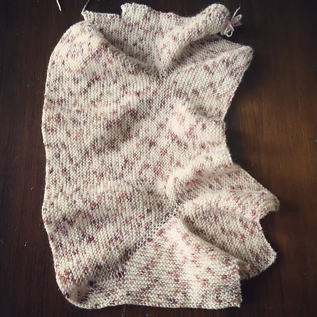 A finished blob of something. It's raining, I'm putting on a movie and seeing how much I can sew in 2 hours. #babysurprisejacket #knitting