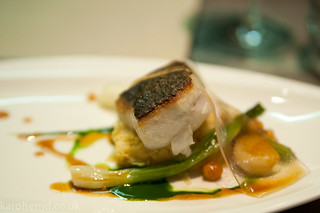 Roasted stone bass, spring onions, chick pea, watercress | by karohemd