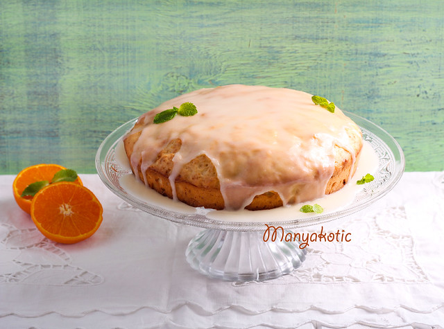 Citrus cake with icing on top,