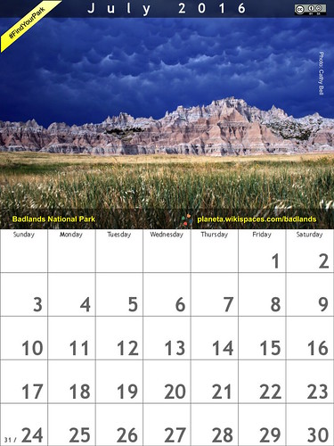 #FindYourPark July 2016 Calendar: Badlands National Park @BadlandsNPS @NatlParkService @NPCA
