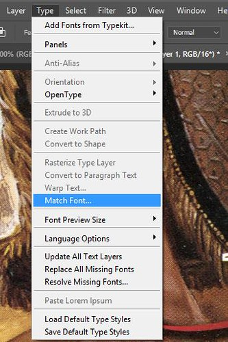 Adobe Photoshop CC - Match Font tutorial