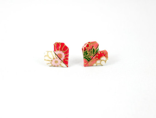 FoldIT Creations Origami Heart Stud Earrings