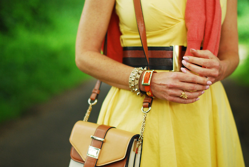 Summer style: Yellow sun dress with orange and coral | Not Dressed As Lamb