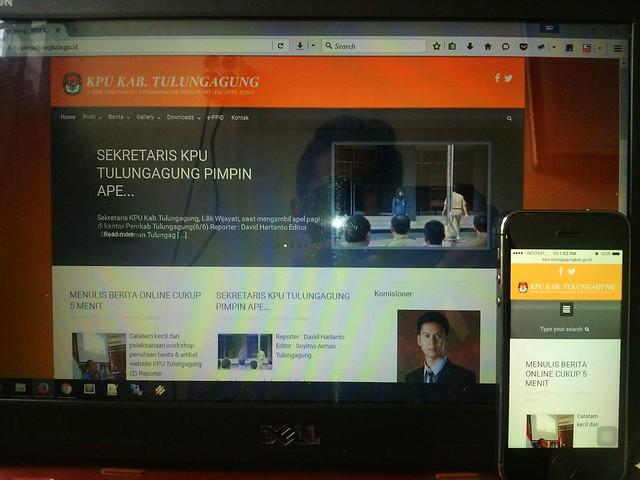 Website KPU Kab.Tulungagung (kpu-tulungagungkab.go.id) saat diakses melalui 2 media yang berbeda