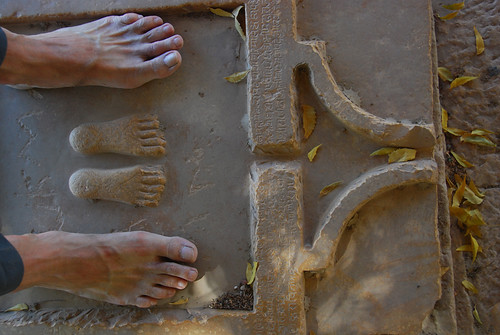 Two sets of feet in a temple in Jaisalmer, India