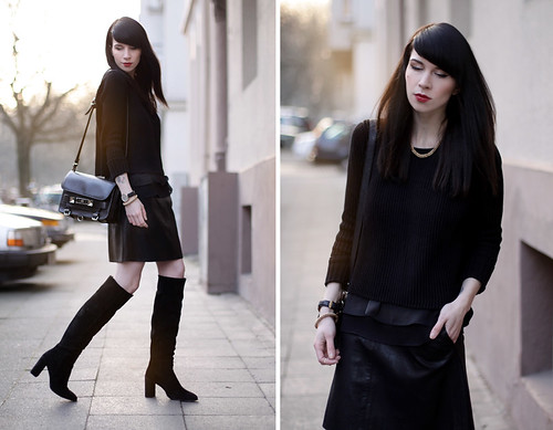 black leather skirt suede overknee boots proenza sc