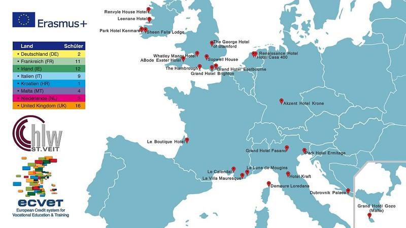 Landkarte mit Hotels