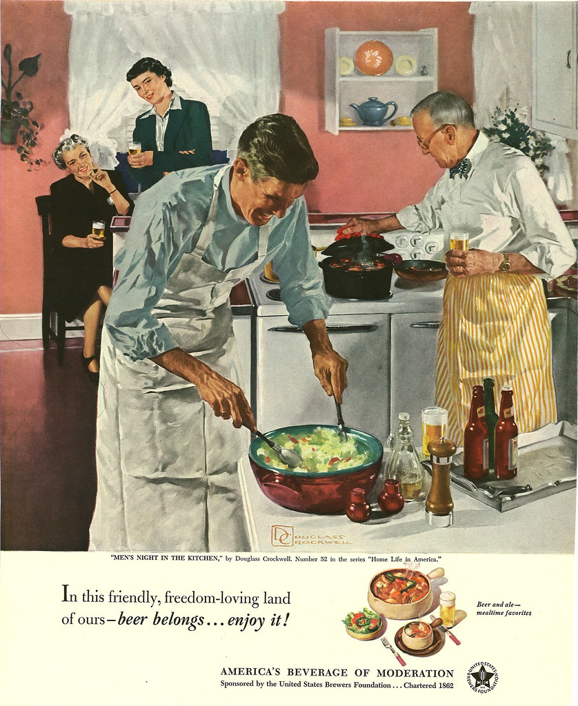 052. Men's Night In the Kitchen by Douglass Crockwell, 1951