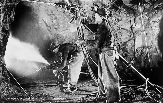 Miners in the Kirunavaara mine, Kiruna, Lappland, Sweden