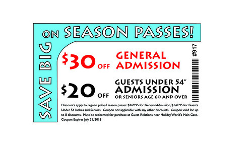 Holiday world discount coupons
