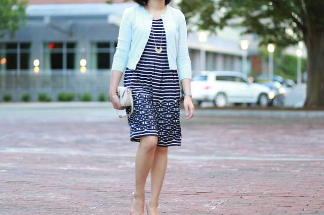 OOTD: Max Studio Striped Flare Dress + Mint Cropped Cardigan