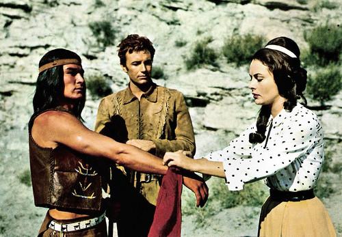 Daniel Martin, Anthony Steffen and Karin Dor in Der letzte Mohikaner (1965)
