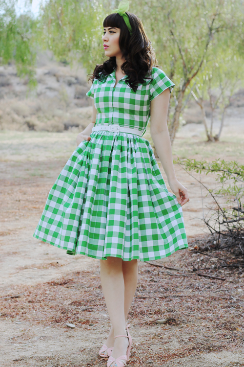 Bernie Dexter 1950s Green Gingham Kelly Cap Sleeve Swing Dress