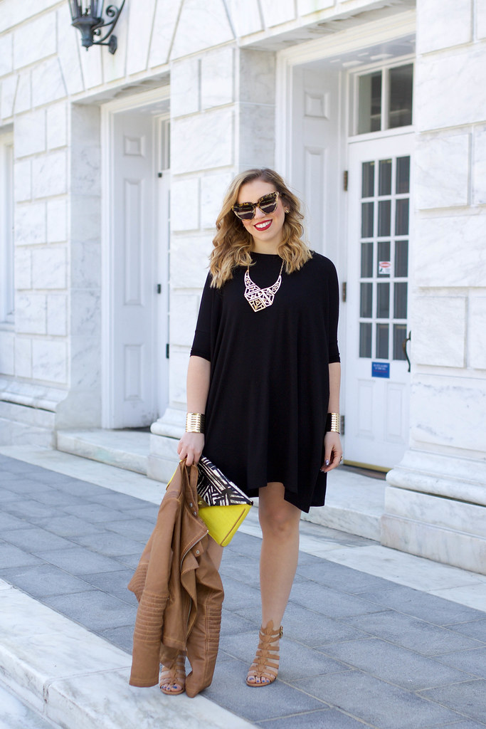 ASOS Oversized T-Shirt Dress | Cognac Brown Faux Leather Jacket | Karen Walker Starburst Sunglasses | Red Lipstick | Neutral Block Heel Sandals | Casual Spring Summer Outfit | Style Fashion on Living After Midnite by Blogger Jackie Giardina