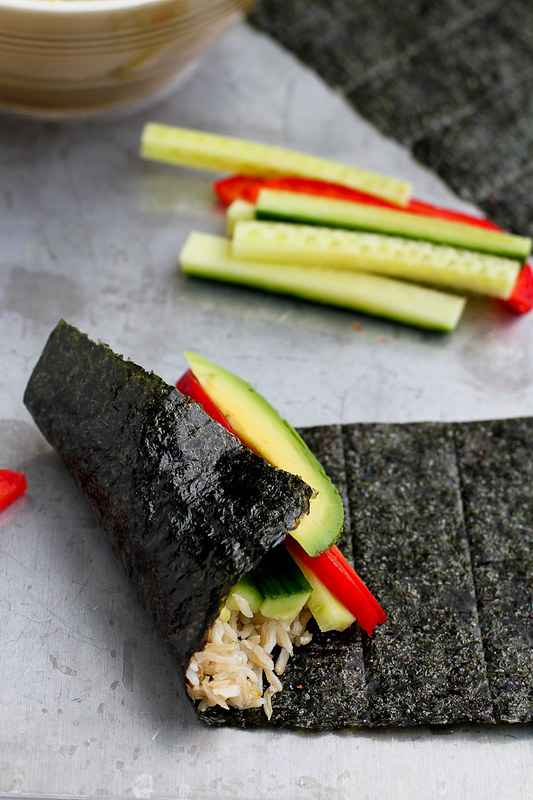 Vegetable Hand Roll (Temaki) with Avocado Wasabi Yogurt…This vegetarian appetizer or light lunch is full of healthy fats and is a breeze to put together! 120 calories and 3 Weight Watchers Freestyle SP