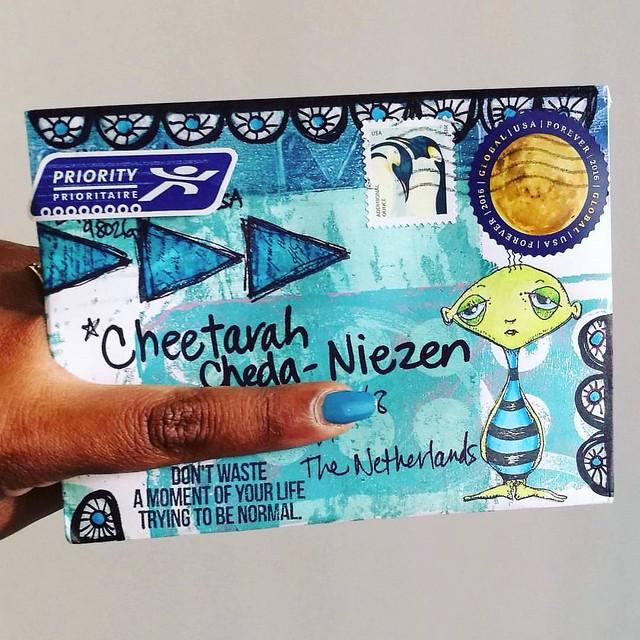 awesome mail day! thanks to julie for this great mail art through #VLVS @vivalasvegastamps mailart swap :) #mailday #snailmailrevival #snailmail #mailart #swap #post #echtepostiszoveelleuker #echtepost #mixedmedia #rubberstamps