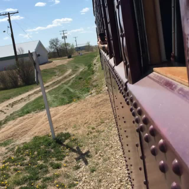 riding the Southern Prairie Railway out of Ogema