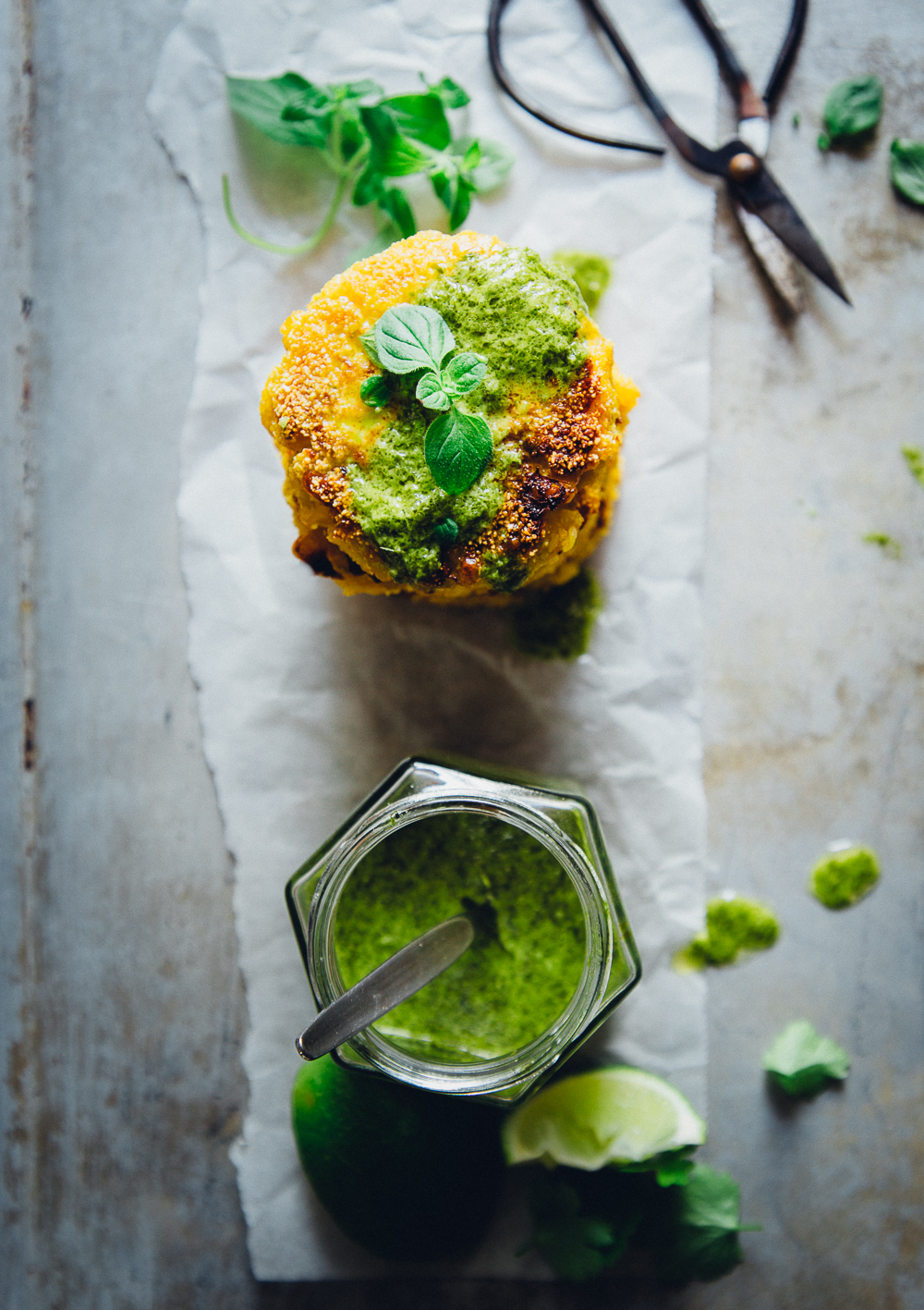 Corn & Halloumi Patties with Chimichurri | Cashew Kitchen