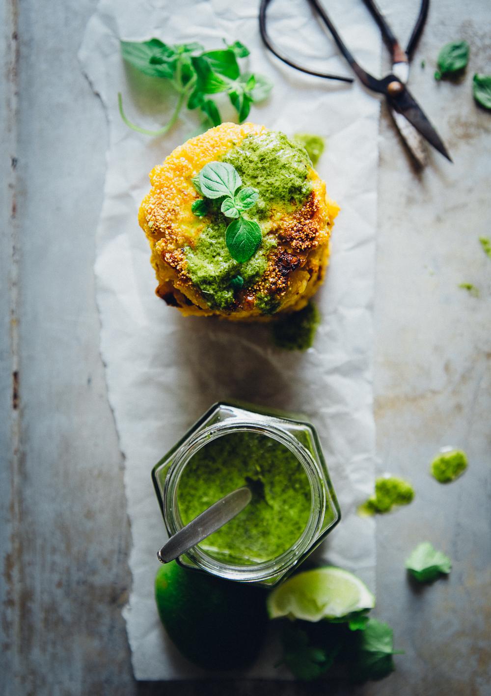 Corn & Halloumi Patties with Chimichurri | Cashew Kitchen