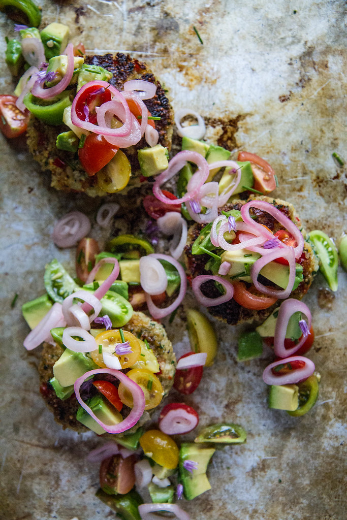 Halibut Quinoa Cakes with Pickled Shallot Avocado Salsa