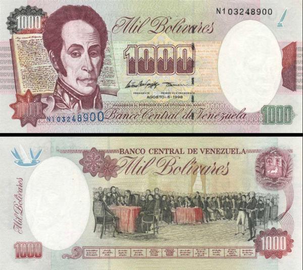 1000 Bolívares Venezuela 1998, P76d