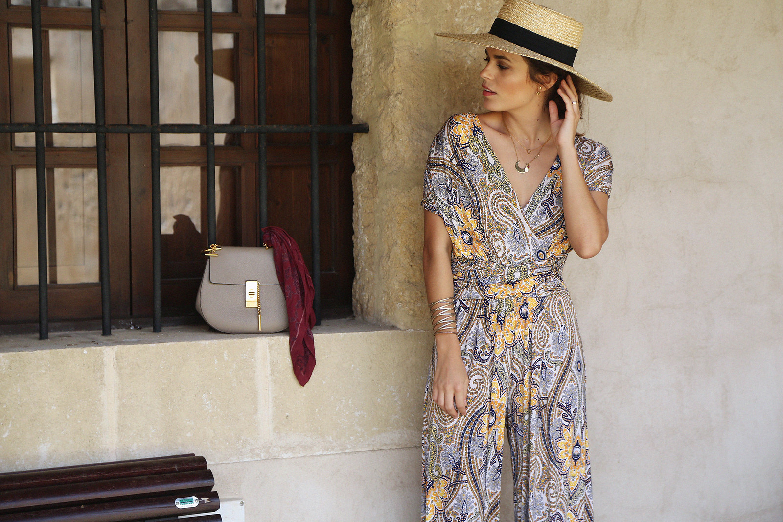jessie chanes seams for a desire paisley jumpsuit summer hat chloe bag-7