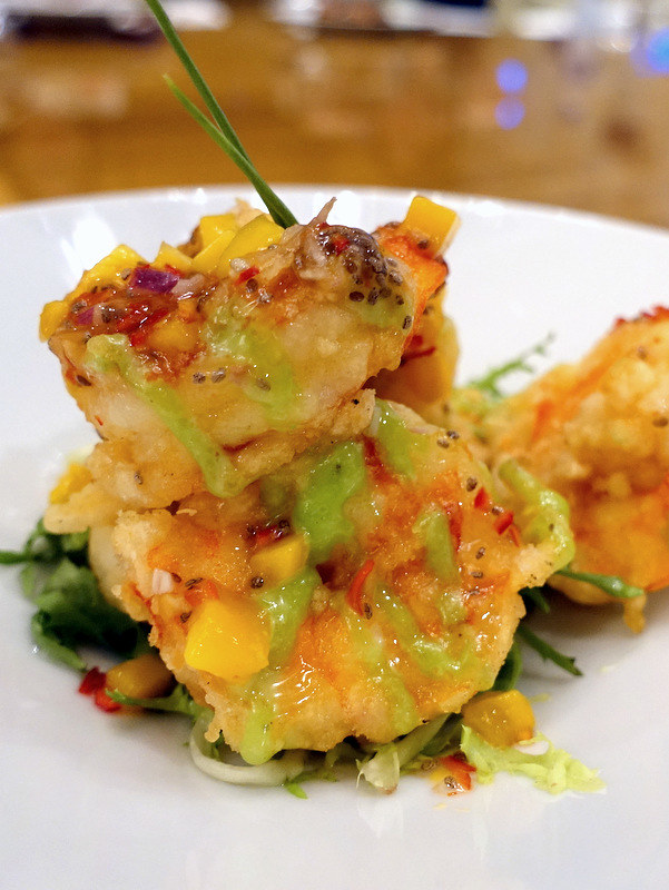Conrad Manila's China Blue by Jereme Leung- Crispy Fried Shrimp with Wasabi & Mango Salsa P890