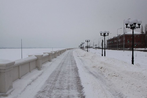 Strolling beside the ice covered Volga River in Nizhny Novgorod