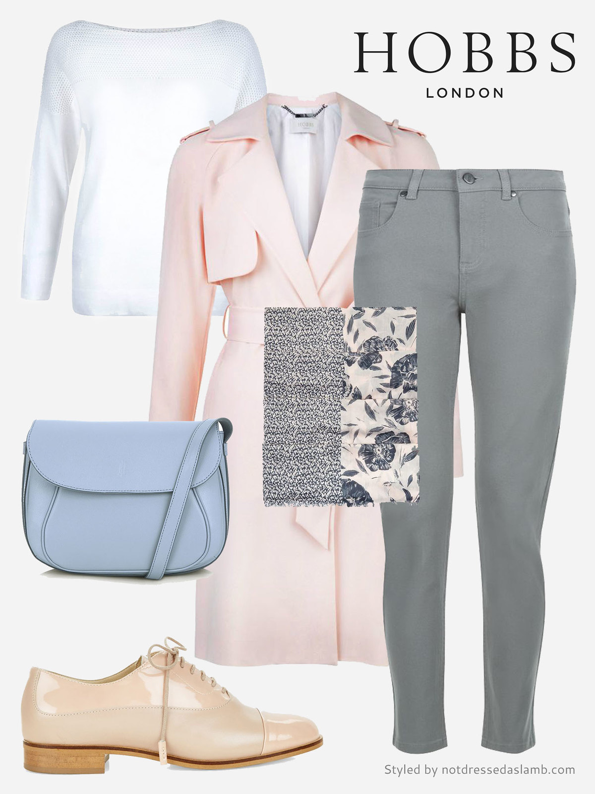 Soft pastels: Pink trench, grey skinnies and nude brogues | Hobbs SS16 styled by Not Dressed As Lamb