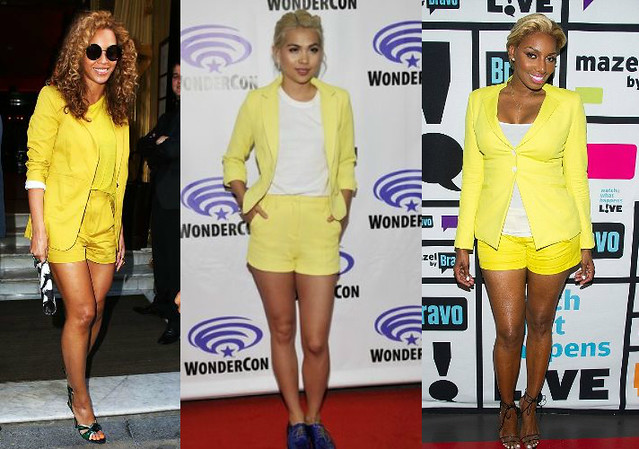 how to style yellow short suit trend-monochrome-yellow-short-suit-Tamara Mellon stretch cotton blazer-neon yellow shorts, purple-lace-up-shoes