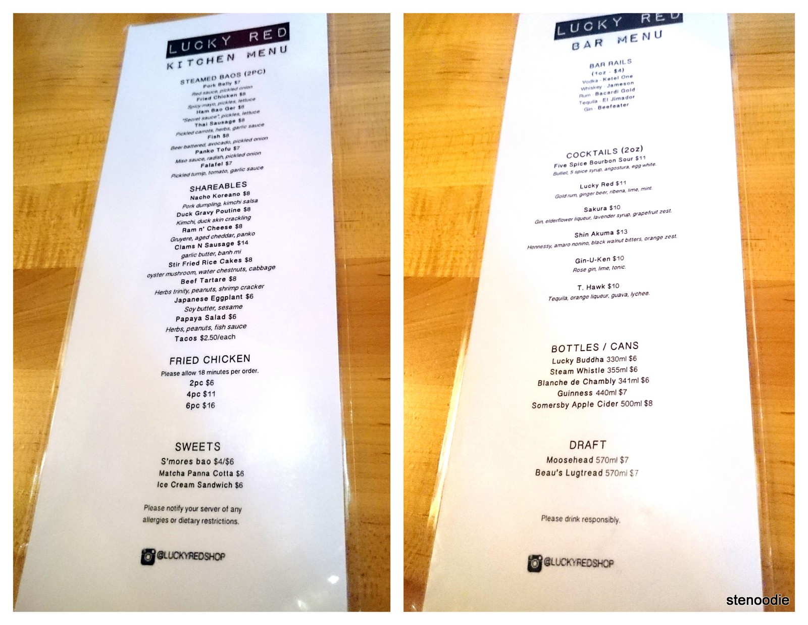 Lucky Red Kitchen Menu & Bar Menu