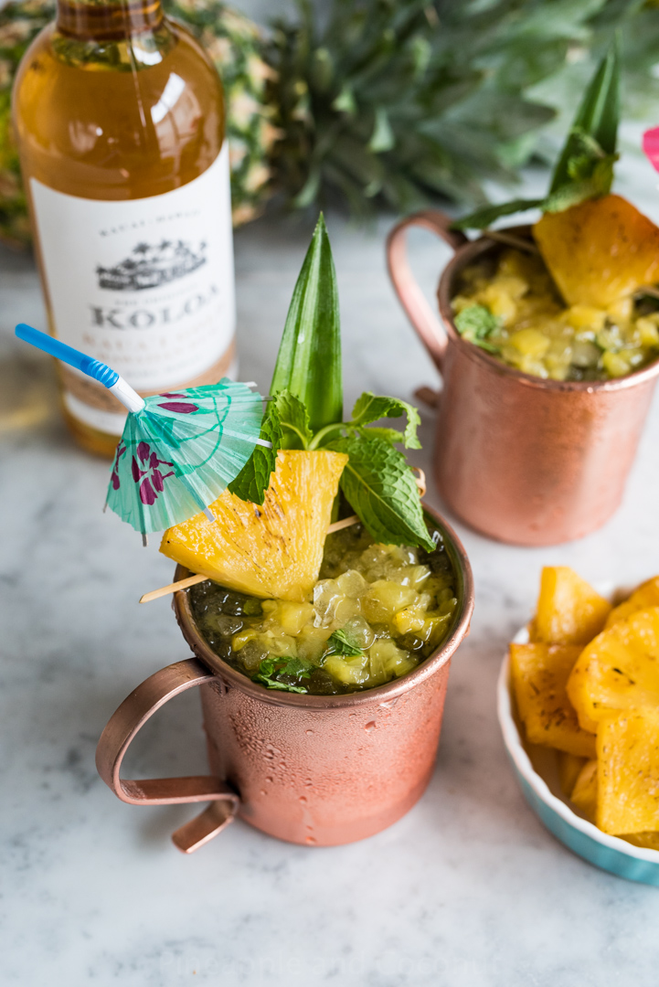 Roasted Pineapple Hawaiian Mule Cocktail www.pineappleandcoconut.com #KoloaRum #liquidpoetry