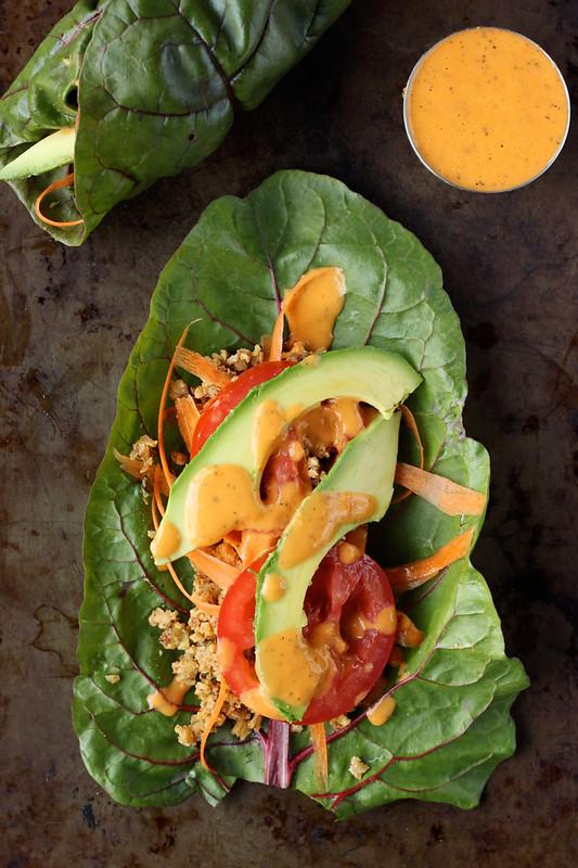 """Swiss Chard Wraps with Raw Walnut Taco """"Meat"""" (gluten-free and vegan)"""