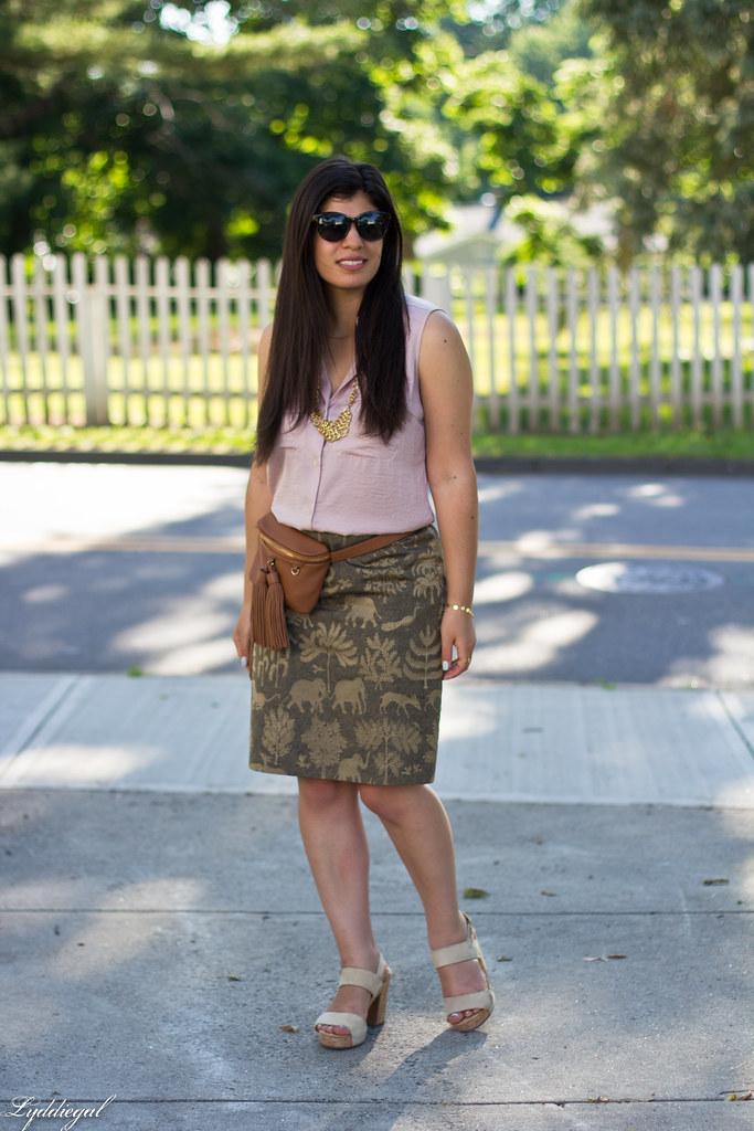 elephant print skirt, pink blouse, tassel waist bag-6.jpg