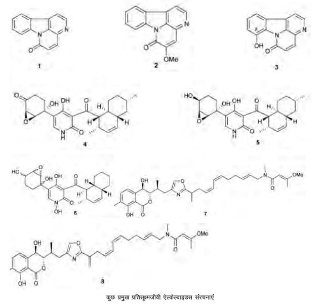 कुछ प्रमुख प्रतिसूक्ष्मजीवी ऐल्केल्वाइडस संरचनाएं