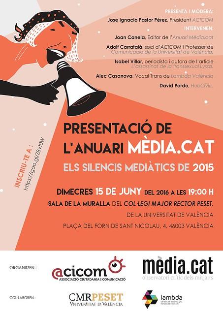 20160615 Anuari Mèdia.Cat, els silencis mediàtics de 2015, presentació a València