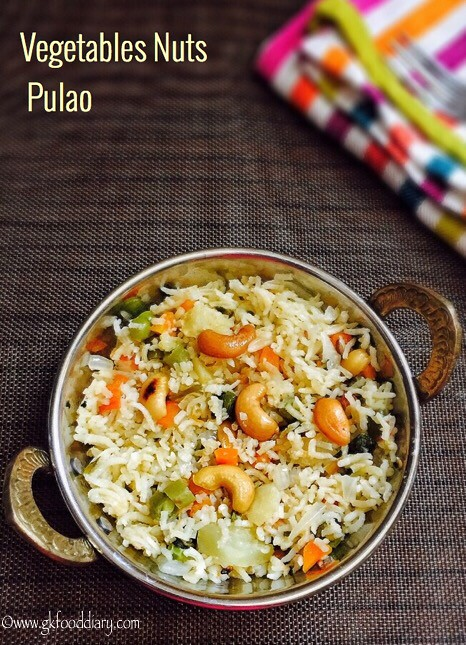 Vegetables Nuts Pulao Recipe for Toddlers and Kids2