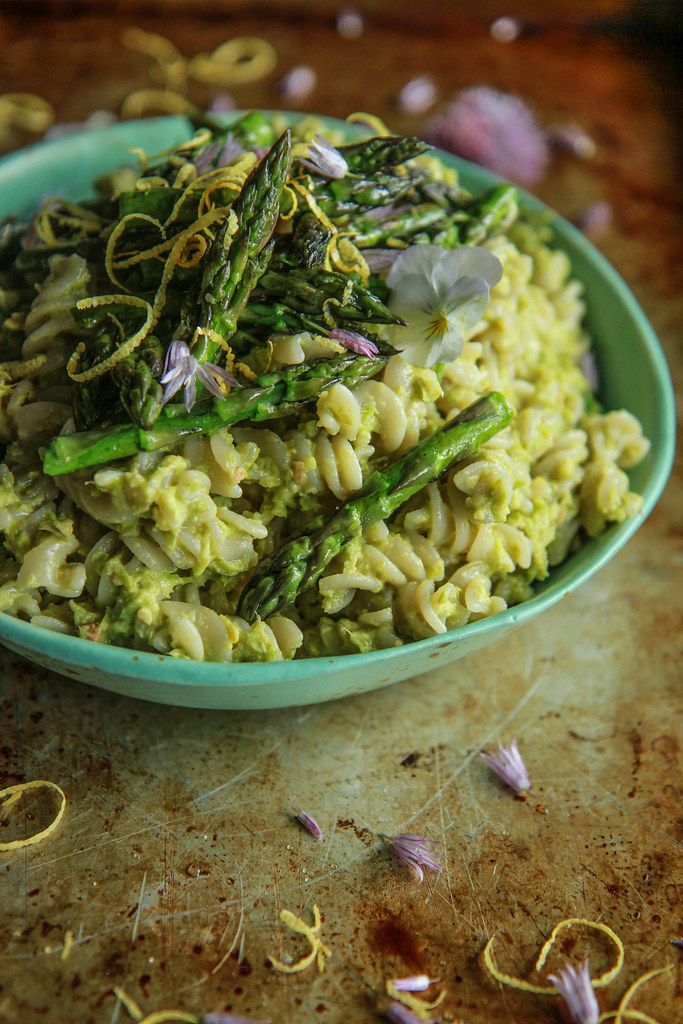 Asparagus Pesto Pasta Salad- vegan and Gluten free from HeatherChristo.com