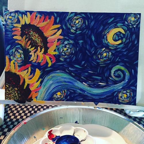 Starting small. #starrynight #sunflowers #acrylic #vangogh @theartsherpa