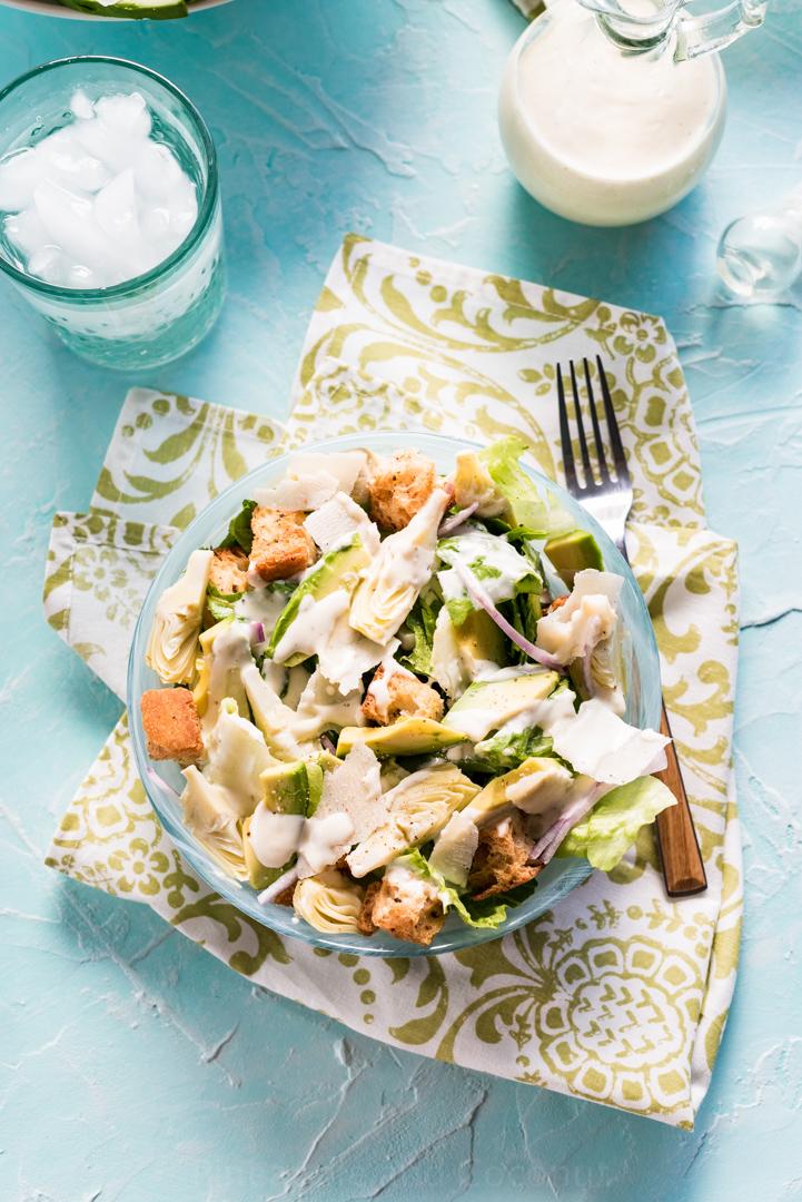 Avocado Caesar salad with Avocado Oil Caesar Dressing #www.pineappleandcoconut.com #ChosenFoods