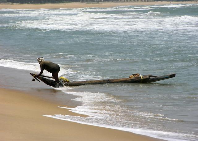 pescador en Mamallapuram