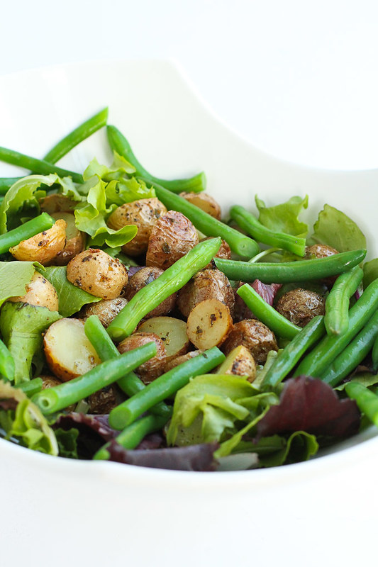 Roasted Potato Green Bean Salad with Basil Buttermilk Dressing…A hearty side salad that is perfect for summertime (or anytime of the year)! 132 calories and 3 Weight Watchers Freestyle SP