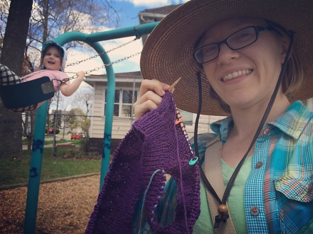 The best thing about her being able to get and keep herself going on the swings? I can knit instead of pushing!
