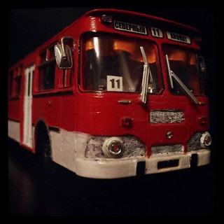 #ЛИАЗ-677 model I got once as a NY gift, still regard it as the greatest gift I ever received. Hand painted inside and out, decorated. I spent ridiculous amount of time getting color for the seats to be just right.. #11 is the route I took to my school. F