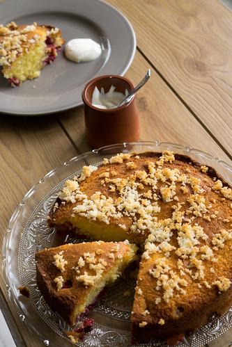 Gâteau aux framboises et noix de coco