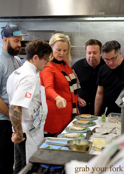 Judges David Pynt (head chef of Burnt Ends, Singapore), Lyndey Milan, Peter Gilmore and Guy Grossi at the Appetite for Excellence Young Chef of the Year 2016 final cook off